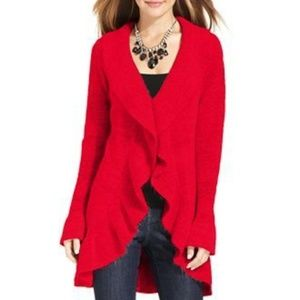 Style & Co Red Ruffle Long Cardigan